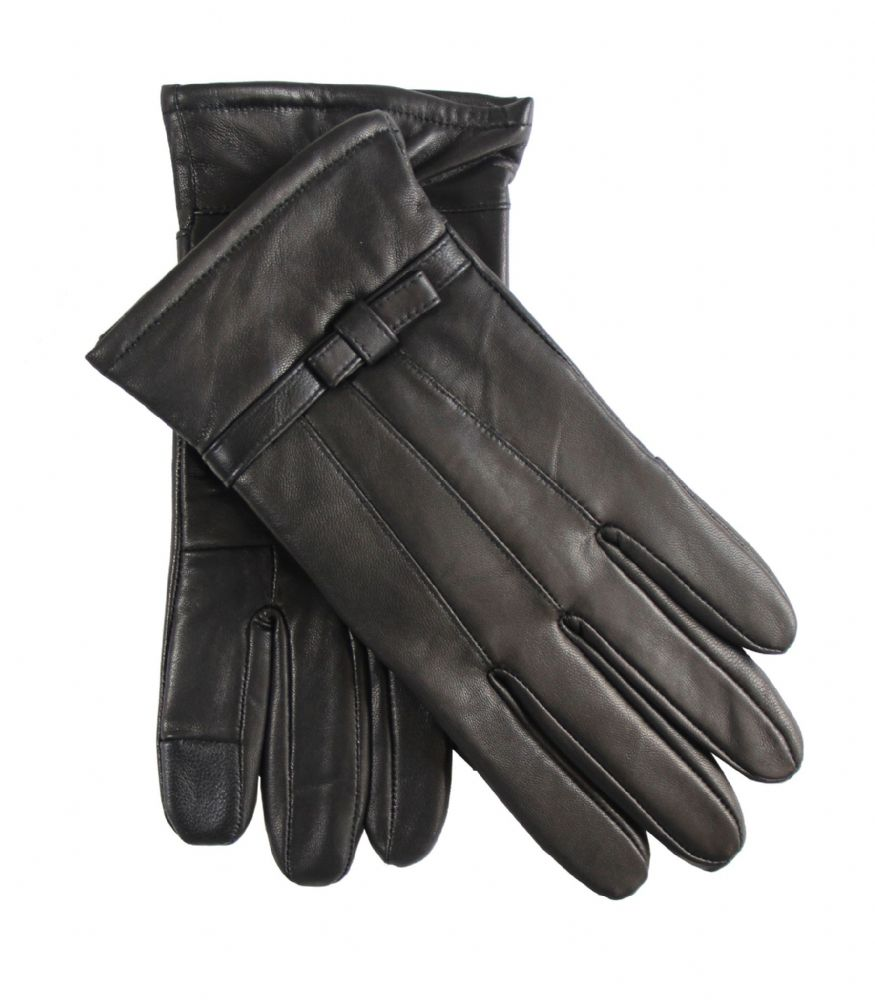 Ladies Black leather touch screen gloves